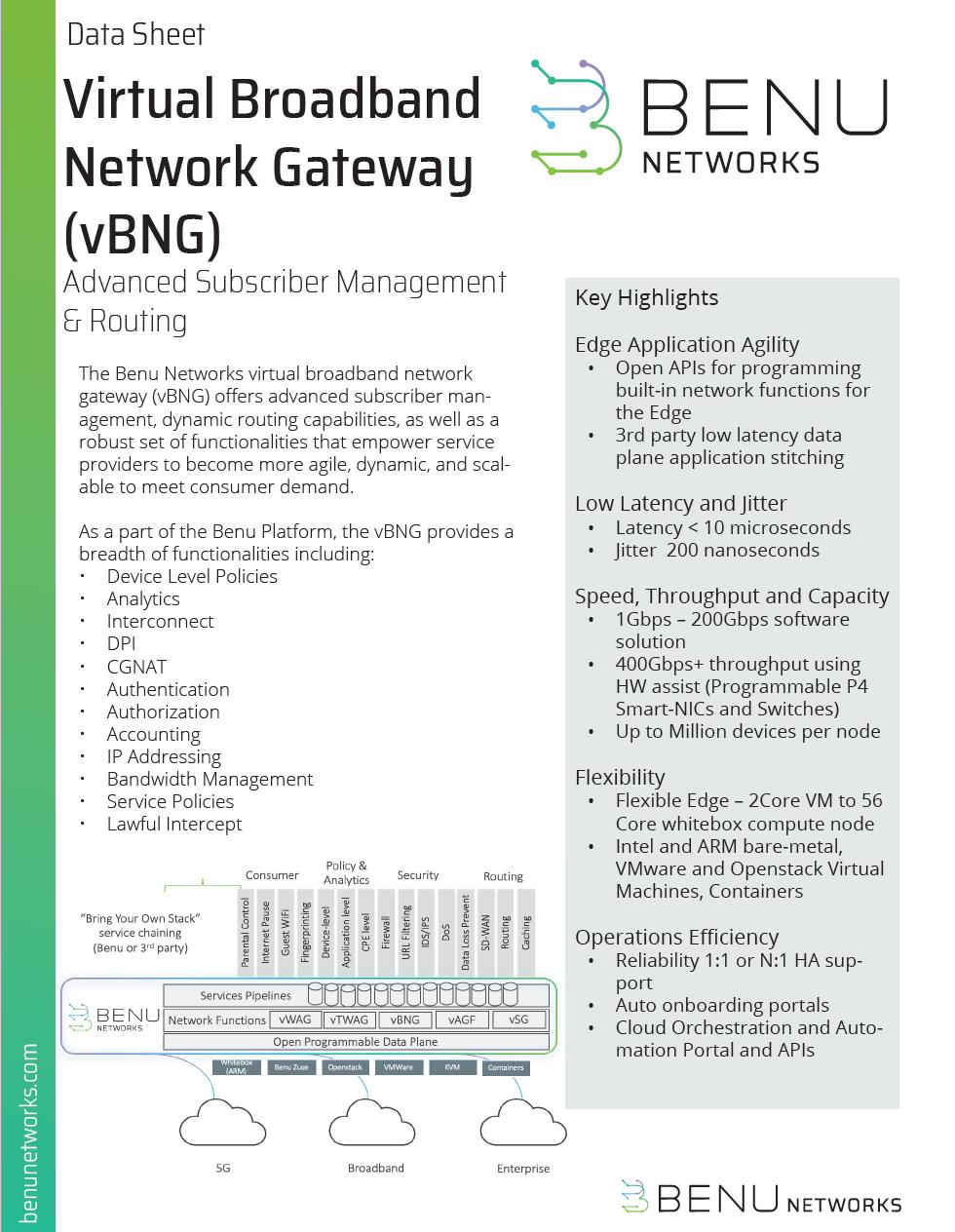 virtual broadband network gateway data sheet
