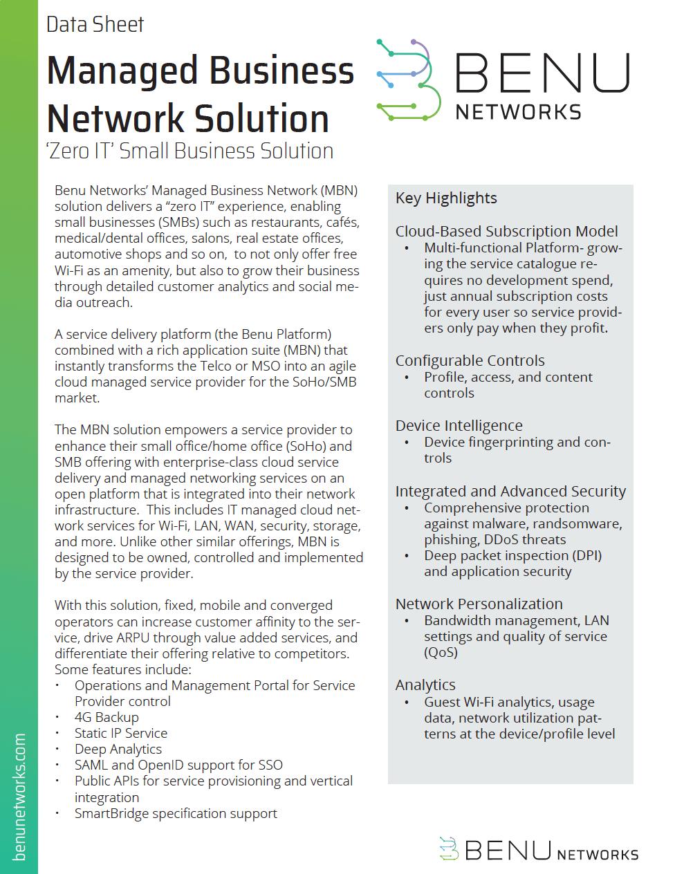 Managed Business Network MBN Datasheet
