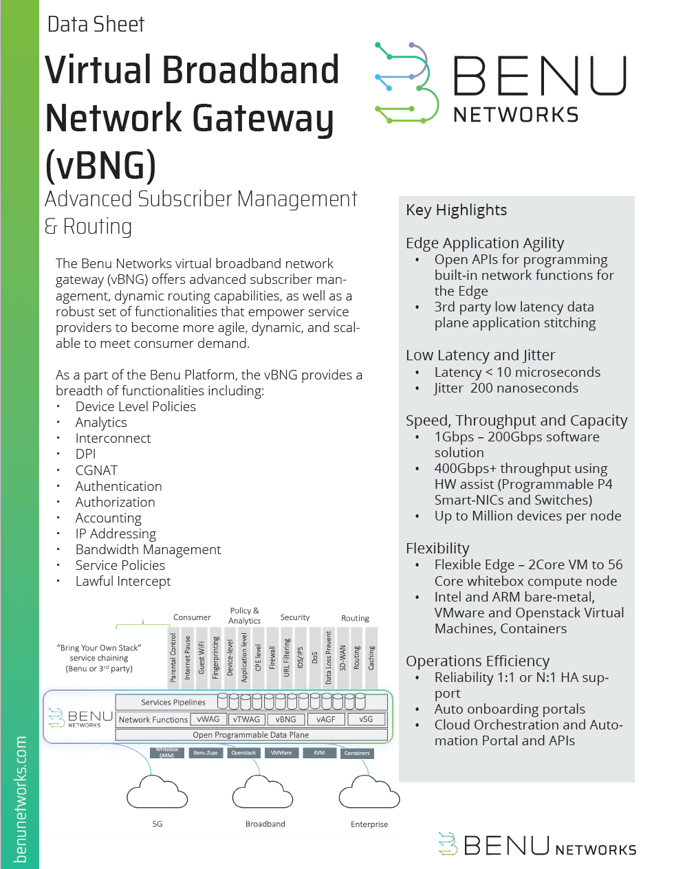 virtual broadband network gateway data sheet