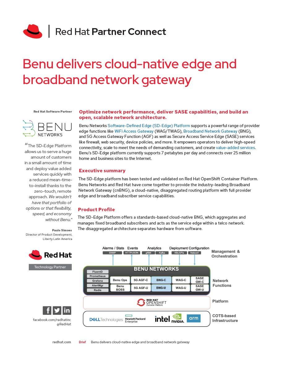 Benu Red Hat Cloud Native BNG on Open Shift Platform