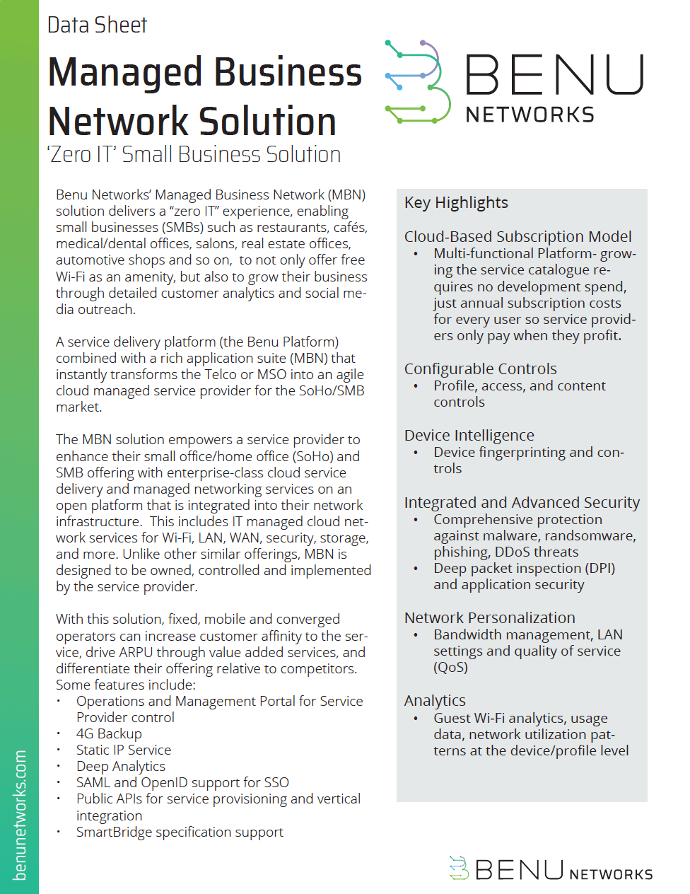 Managed Business Network MBN Datasheet